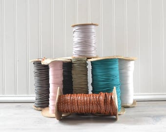 Vintage Leather Trim Strapping Spools - Elastic Cord Strap Bulk Supplies Pink Green Black Brown