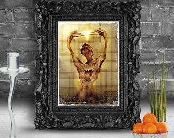 Portrait of strange creature holding a key. Surreal fine art print   FRAMED.