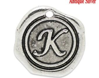 """5pcs. Antique Silver LARGE Letter """"K"""" Alphabet Letter - 18mm x18mm - Wax Design"""