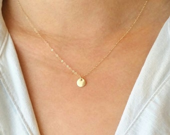 Tiny Gold Disc Necklace, Tiny silver dot necklace, everday
