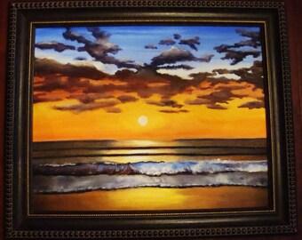 Canvas Giclée Beach Ocean Sunset Summer