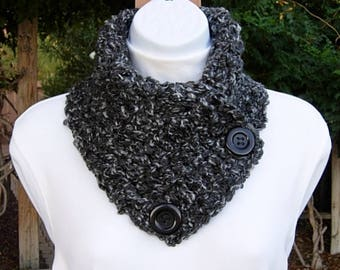 Light & Dark Gray NECK WARMER SCARF with Large Black Buttons, Extra Soft Crochet Knit Winter Cowl, Women's, Men's, Ready to Ship in 2 Days