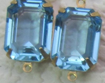Aquamarine, Unfoiled, 24MM, 2 Ring, Swarovski Crystal,  Rectangle, Octagon, Rhinestone, Brass, OB, 4 Prong, Setting, Connector,