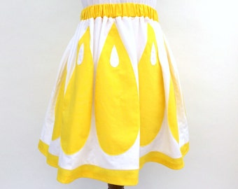 Lemon skirt, applique skirt, statement skirt, yellow skirt, pockets, A line skirt, fruit skirt, fruit, summer skirt, festival, XS