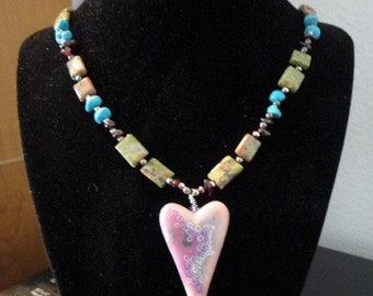 Heart and Gemstone Necklace