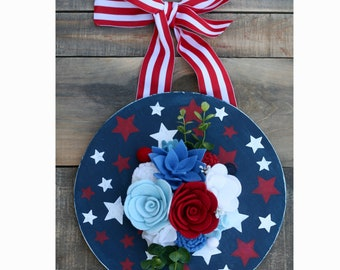 Red white and blue wood door hanger with felt flowers
