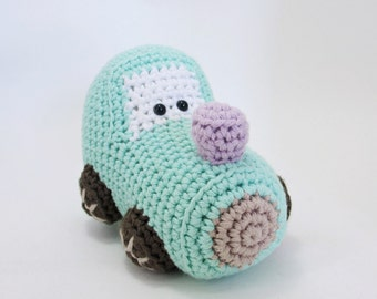 Train engine baby rattle stuffed toy - crochet amigurumi train - organic cotton - mint and brown
