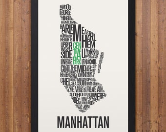 MANHATTAN New York City Typography Map Print