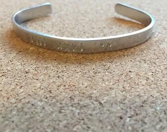 Handstamped, Aluminum bangle bracelet