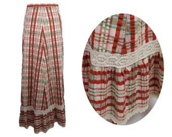 Vintage 70s Check Maxi Skirt UK 6 Frilled Lace Hem Prairie Boho Brown and Green