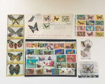 Vintage set of butterfly stamps