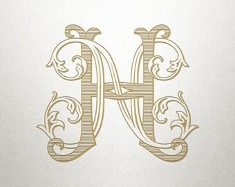 Custom Bridal Monogram - HN NH- Bridal Monogram - Vintage