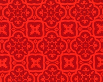 1 Yard ANDALUCIA Moorish Tile Medallions Red DC3896 Fire Patty Young Michael Miller Quilting Sewing
