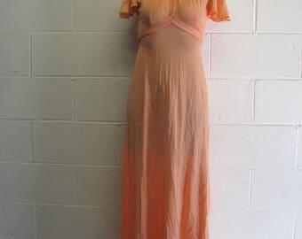Womens Vintage Peachy 70s Long Maxi Dress