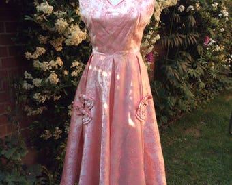 1950's Satin Damask Sugar Pink  Evening Dress