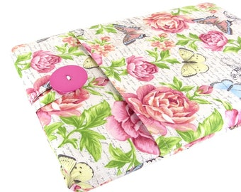 """Women's Laptop Sleeve 15.6"""" - Custom Sized To Your 15 Inch Laptop - Padded With Pocket, Butterfly Flower Fabric"""