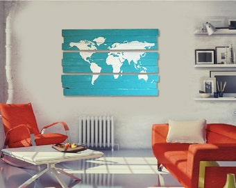 Large triptych map etsy extra large world map triptych hand painted 3 piece wall art on distressed solid wood gumiabroncs Images