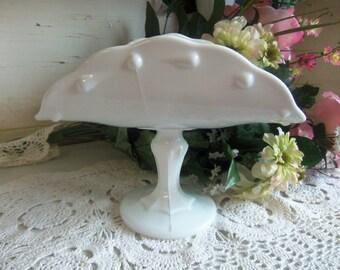 Vintage White or Milk Glass Banana Stand Indiana Glass Teardrop Pattern  B498