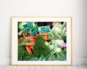 Paris Market Photography - French Country Decor - Farmers Market Photograph Carrot Print - Kitchen Decor Food Vegetable Wall Art