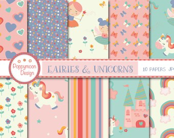 Fairies and unicorns, magical, digital paper pack