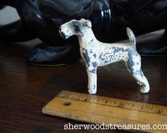 "Antique German Cast Iron Original Metal Fox Terrier Dog 2 1/2"" Very Old"