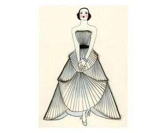 "Fashion illustration art print  Yvonne  -  8.3"" X 11.8"" - 4 for 3 SALE"