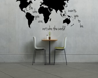 World map wall decal with markers map with markers large large world map decal be who you are not who the world wants you gumiabroncs Image collections