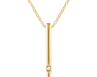Vertical Diamond Bar Necklace - 14kt Solid Gold
