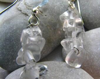 Clear quartz earrings, gemstone dangle earrings, natural gemstone jewelry, Boho
