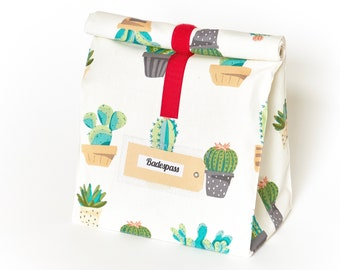 Lunchbag Large/bath bag/cactus/water repellent/coated cotton
