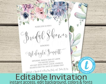 Watercolor Boho Succulent Bridal Shower Invitation, Editable Boho Chic Shower Invite, Floral Succulent Bridal Shower Invite,Instant Download