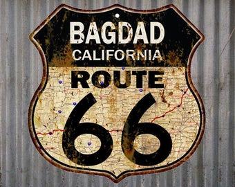 Bagdad, California Route 66 Vintage Look Rustic 12X12 Metal Shield Sign S122064