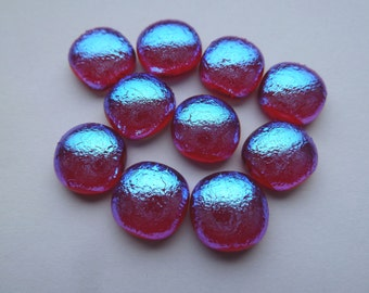 10 Handmade Fused Glass Cabochons Blue Dichroic glass on Transparent Red