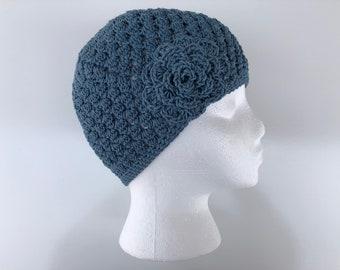 READY TO SHIP/Blue Hat/Lightweight Cotton/Crochet Hat/Knit Hat/Soft/Cute/Pretty Spring Summer Hat/Cap/Beanie/Toque/Flower Hat/Women/Ladies