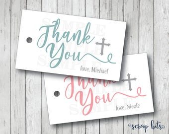 10 Small Cross Thank You Tags, Baptism Thank You Tags, Confirmation Thank You Tags