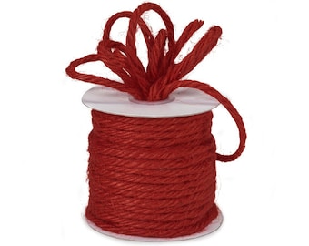 "5YDS RED 3/16"" Heavy Jute Burlap 4-ply Twine (Free Shipping!)"
