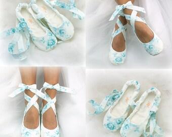 Bride Ballet Slippers Teal and White Floral Blue Wedding Ballet Shoes Bridal Flats for Brides Elegant Ballerina Slippers Custom Shoes