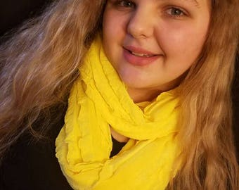 Frilly Yellow Infinity Scarf