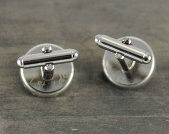 Handwritten Engraving Sterling Silver Round Vintage Map Cufflinks. You Select the Journey.