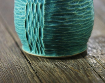 small carved stoneware succulent planter/ vase with turquoise glaze