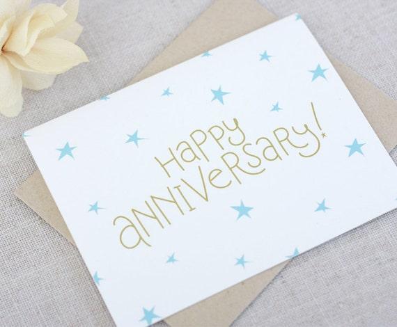 Happy anniversary card hand lettered wedding anniversary