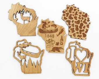 Wisconsin Ornaments from Timber Green Woods. Made in the USA! Individual or Set of Five (5). CHERRY WOOD. Deer, Canoe, Buck, Cheese, Badger