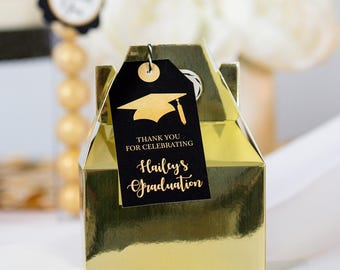 Graduation Party Favor Tags INSTANT DOWNLOAD -  Black and Gold Graduation Favor Tags by Printable Studio
