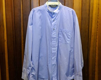 1980s // NEHRU To THE OFFICE // Vintage Exclusive Club Size 17.5 Long Sleeve Button Down