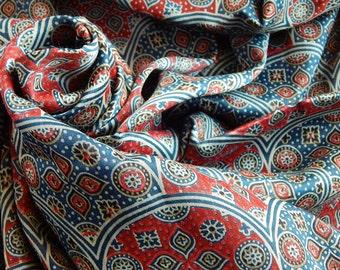 1 yard of Gajji Silk Fabric, Indian Silk Fabric, Geometric Print Fabric, Blue and Red Silk Fabric