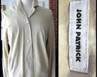 John Patrick Suede Shirt / Minimalist Chamois Shirt / 90s Suede Shirt / fits M / Beige Suede Shirt / Organic designer shirt