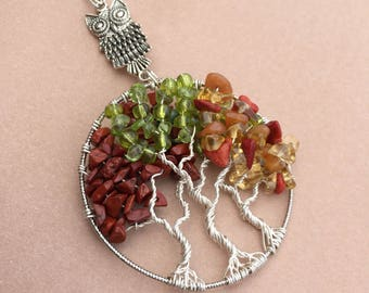 Fall Wire Wrapped Tree Pendant, Fall Tree Pendant, Autumn Wire Wrapped Trees, Fall Tree of Life, Fall Jewelry, Fall Pendant, Fall Wire Wrap