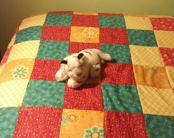 Spring Colors Twin Size Handmade Quilt Great Birthday Gift