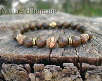 Mens bracelet style ethnic bronzite stones and Jasper Earth Ref: BN-231