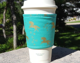 FREE SHIPPING UPGRADE with minimum -  Fabric coffee cozy / cup sleeve / coffee sleeve / teacher gift / Gold Unicorn on Teal
